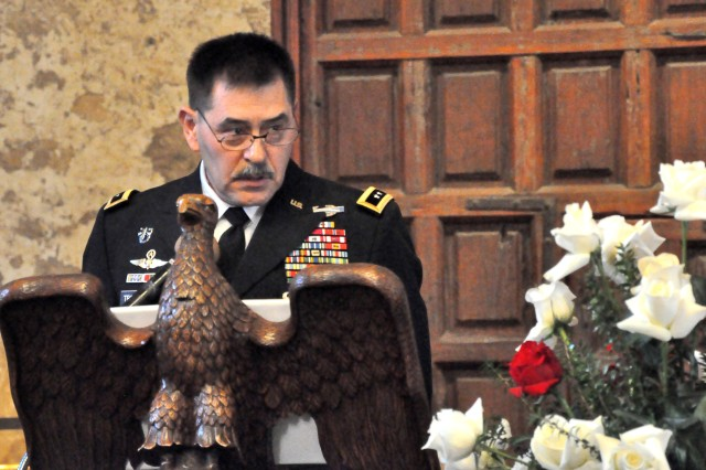 Maj. Gen. Simeon Trombitas, commanding general, U. S. Army South, speaks at the memorial service inside the Alamo Shrine March 6, commemorating the 175th anniversary of the Battle of the Alamo.