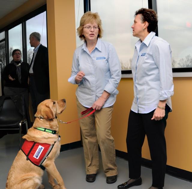 Karen chats, dog listens