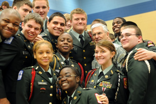 Chief of Staff of the Army Gen. George W. Casey Jr. takes a photo with Junior Reserve Officer Training Corps Cadets at the conclusion of the launch ceremony for project Pass in Radcliff, Ky., on Mar. 11, 2011.