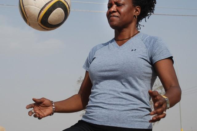 Karen Ware, member of the 402nd Army Field Support Brigade 5 vs. 5 soccer team, hones her skills.