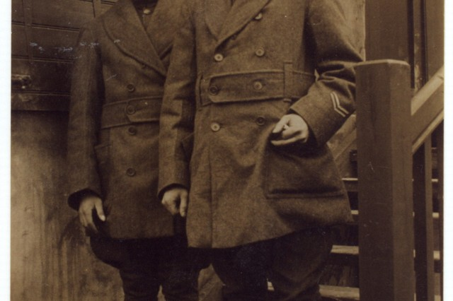 A teen-aged Frank W. Buckles with fellow Soldier James Potter of Providence, Rhode Island, while stationed in England during World War I.  Photo courtesy of Veterans History Project, American Folklife Center, Library of Congress.