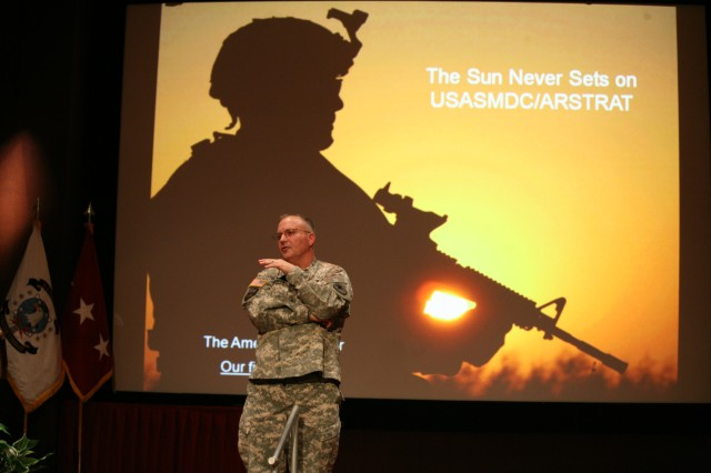 Lt. Gen. Richard P. Formica, commanding general of U.S. Army Space and Missile Defense Command/Army Forces Strategic Command, speaks to members of the command during a town hall meeting March 9 in the Sparkman Center's Bob Jones Auditorium.