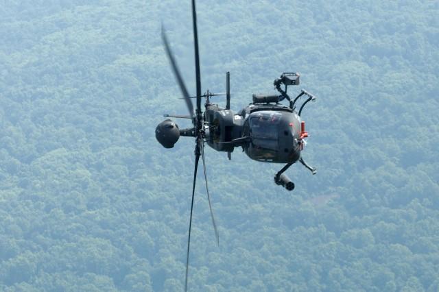The Kiowa Warrior in flight.