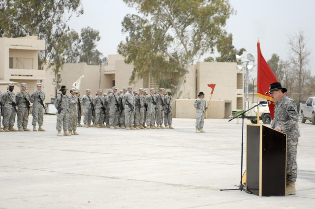 CONTINGENCY OPERATING SITE MAREZ, Iraq - Lt. Col. Elward Cortez, commander of 27th Brigade Support Battalion, 4th Advise and Assist Brigade, 1st Cavalry Division, speaks to Soldiers after assuming command of the battalion during a Change of Command ceremony, March 7, 2011. Cortez, a native of New Orleans, replaced Lt. Col. William Galbraith, a native of Poughkeepsie, N.Y., who will deploy to Afghanistan with Headquarters, 1st Cav. Div., later this year.