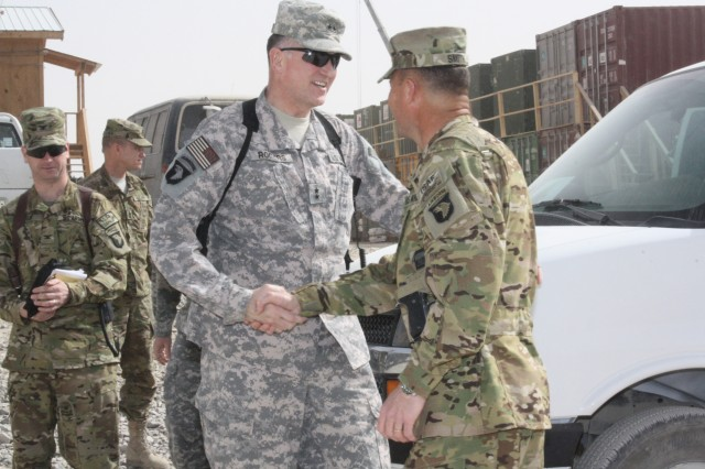 KANDAHAR AIRFIELD, Afghanistan (March 16, 2011) - Maj. Gen. James Rogers (left), the commanding general of Aviation and Missile Command, shakes hands with Lt. Col. John Smith, the commander of Task Force Fighting, here March 16. Rogers conducted a command visit to the 159th Combat Aviation Brigade to assess the logistical capabilities and readiness of aviation throughout Regional Command-South.  (U.S. Army photo by Spc. Shanika L. Futrell, 159th Combat Aviation Brigade Public Affairs/Released)