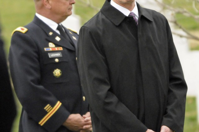 Secretary of the Army, John McHugh attends the funeral of Army Cpl. Frank Woodruff Buckles, the last surviving American World War I veteran, at Arlington National Cemetery, March 15, 2011.