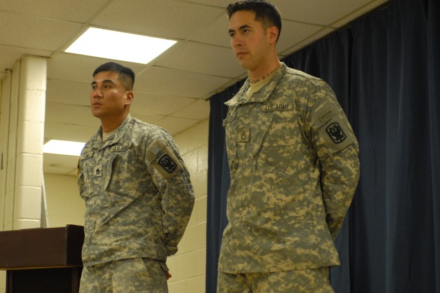 Staff Sgts. Teodoro Buno, left, and Elliott Alcantara served with the platoon depicted in the Oscar-nominated documentary Restrepo. They talked about their experiences in Afghanistan and the Army during a March 8 visit to A Company, 2nd Battalion, 47th Infantry Regiment, a basic training unit at Fort Benning.