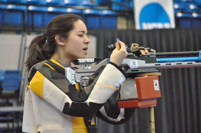 West Point junior Kelly Buck competes in the NCAA Rifle Championships last week, where she finished seventh in the smallbore rifle competition and 10th in air rifle.