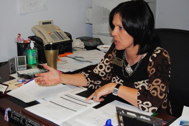Karin K. Spears, Fort Polk's resident citizenship expert, explains the citizenship process. Photo courtesy of Ft. Polk Public Affairs.
