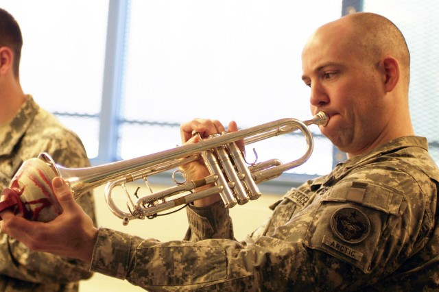Staff Sgt. Robert Leatherbee, 9th Army Band, Fort Wainwright practices with his fellow band members for upcoming events. Leatherbee has been awarded the Col. Finley R. Hamilton Award for displaying exceptional leadership skills and well as being an outstanding musician.
