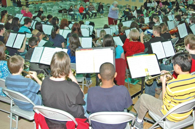 More than 170 middle school students rehearse as part of the Heidelberg School District's Middle School Honor Band at Wiesbaden Middle School.