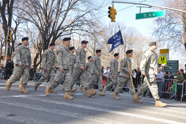 New York Army National Guard Capt. Aaron Lefton leads the Headquarters and Headquarters Company of the Guard's 1st Battalion, 69th Infantry up 5th Avenue in New York City on March 17 during the city's St. Patrick's Day parade.  The battalion, famous for its role in the Civil War as part of the Irish Brigade, has led the New York City St. Patrick's Day parade for the past 160 years.