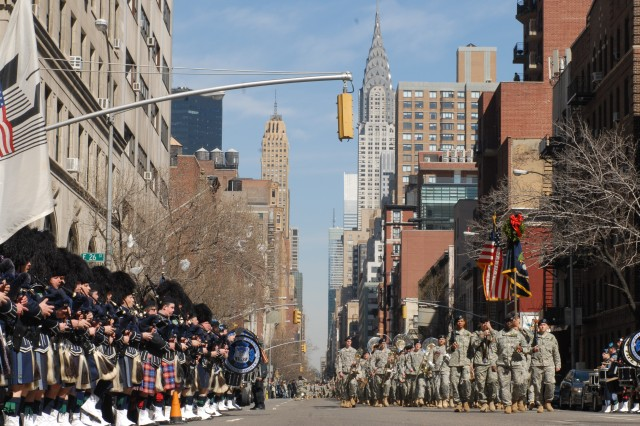 Members of the New York Army National Guard's 1st Battalion, 69th Infantry march down Lexington Avenue in New York City to their home armory following the city parade March 17 the celebrate St. Patrick's Day.  The battalion, famous for its Irish heritage as part of the Irish Brigade in the American Civil War, has led the parade in New York for the past 160 years.