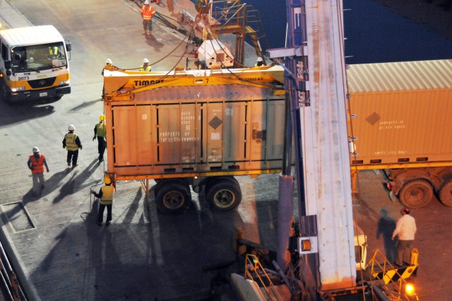 A container is being loaded onto a truck from the MV Virginian at the Kuwait Naval Base on March 19, 2011.