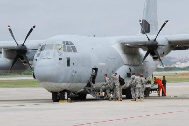 Boarding C-130