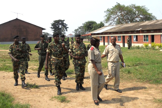Burundian Force de DefAfAnse Nationale (BFDN) chaplains and soldiers gather to meet with a traveling U.S. Army Africa chaplains team, February 2011.