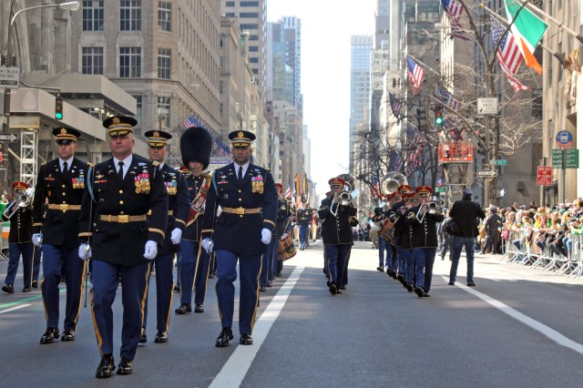 Col. David Anders, Commander, 3rd U.S. Infantry Regiment (The Old Guard) leads The Old Guard during the 250th New York City St. Patrick's Day Parade on March 17, 2011. The Old Guard marched from 44th street to 86th street up Fifth Avenue. This was the first time The Old Guard has participated in the New York City St. Patrick's Day Parade.