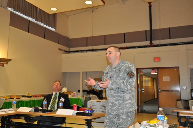Col. John Strycula, Fort Belvoir Garrison Commander, addresses the Fort Belvoir Public Affairs community.