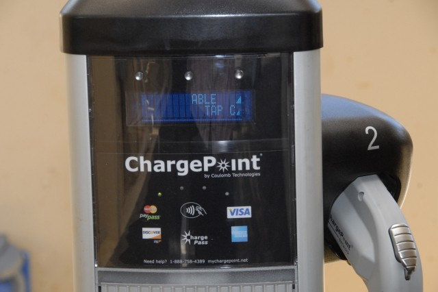 The smart-charging micro grid system consists of 25 kilowatts of solar power array and 200 kilowatt hours of battery storage. It powers four plug-in electric vehicles.