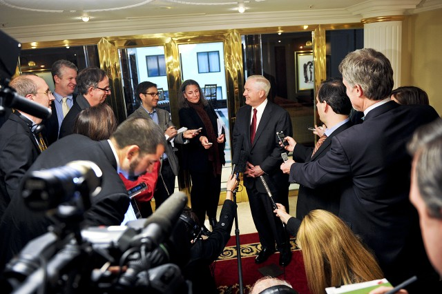 U.S. Defense Secretary Robert M. Gates speaks with members of the traveling press in Moscow, March 22, 2011.