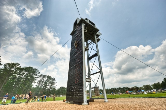 Tri Tower Challenge The Tri Tower Challenge is an obstacle course combining three climbing activities:  a towering rock-climbing wall competitors first climb and then rappel from, a rope ladder and a knotted rope climb. The tower is located at Todd Field along with several other events known collectively as Day Stakes that tie into making Todd Field a spectator favorite.
