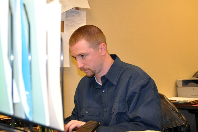 Erik Shaw has worked for the U.S. Army Space and Missile Defense Command/Army Forces Strategic Command as a civilian for seven months, but has served in the Army Reserves for 10 years.