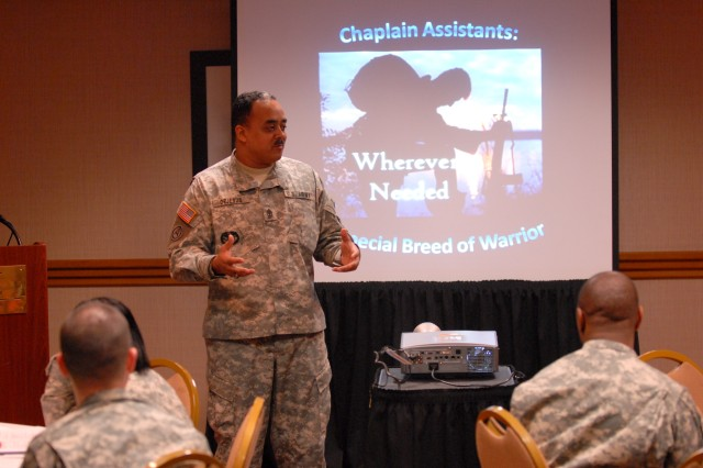 Sgt. Maj. Jesus DeJesus, acting command sergeant major for the 99th Regional Support Command, delivers the opening remarks during the first-ever Chaplain Assistant Mentorship Program (CAMP) hosted by the 99th RSC March 12-13 in Bethesda, Md.