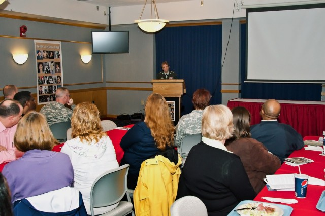 Command Sgt. Maj. Mary K. Lemburg, the command sergeant major for the 646th Regional Support Group, was the guest speaker at Fort McCoy's Women's History Month observance March 17.
