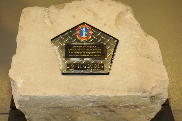 A close-up view of the Pentagon stone presented to the Arlington County firefighters at Fire Station No. 5 during a ceremony Mar. 24, 2011 recognizing their heroic service following the 911 attack on the Pentagon.  Most likely, this stone sat within 50-75 yards of the part of the Pentagon damaged during the 911 attack.