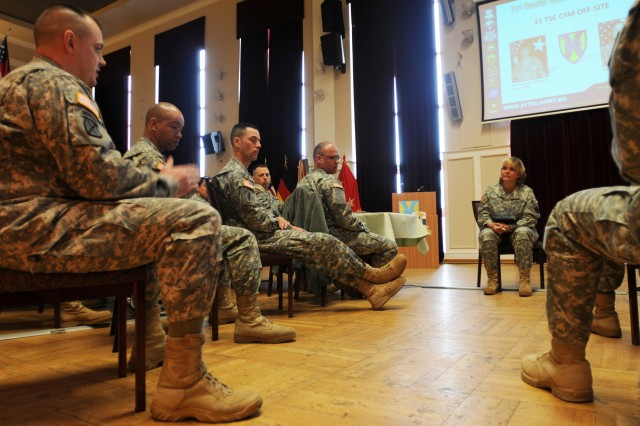 Senior enlisted advisors from throughout the 21st Theater Sustainment Command gathered to discuss various topics with Maj. Gen. Patricia E. McQuistion, the commander of the 21st TSC, during a command-wide sergeants major offsite conference held at Rhinelander Club in Baumholder, Germany, March 13-15.