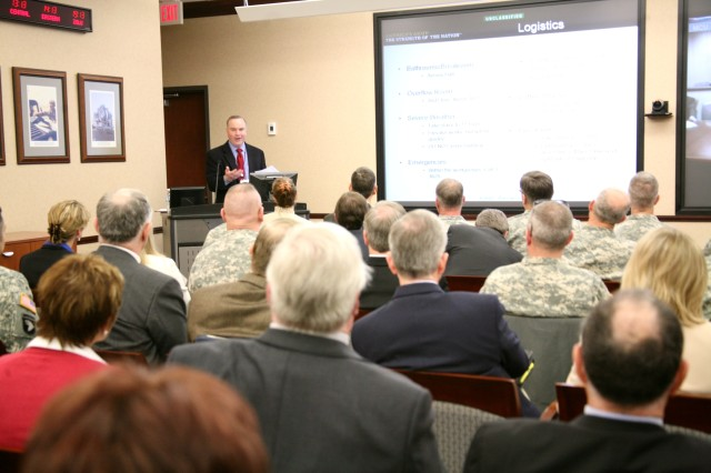 Mike Locke, who works on the Air and Missile Defense Task Force, addresses participants during the offsite that took place at the U.S. Army Space and Missile Defense Command/Army Forces Strategic Command in Redstone Arsenal, Ala., March 8-10.