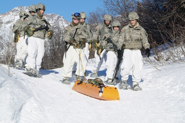 Soldiers at the Army's Northern Warfare Training Center's Cold Weather Leaders Course learn to use rescue equipment in Alaska's harsh winter conditions. The two-week course teaches a variety of cold-weather survival skills and tactics.