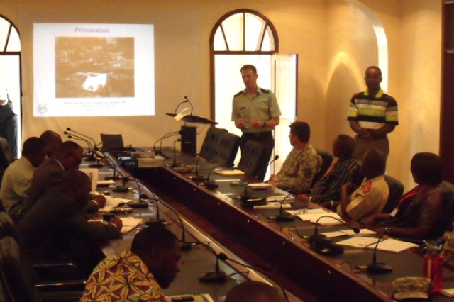 Lt. Col. Stephen Salerno, Judge Advocate with U.S. Army Africa\'s Office of the Staff Judge Advocate, discusses rule-of-law issues with soldiers and civilians from Burundi, Tanzania and Uganda during a week of instruction in Goma, Democratic Republic of Congo.