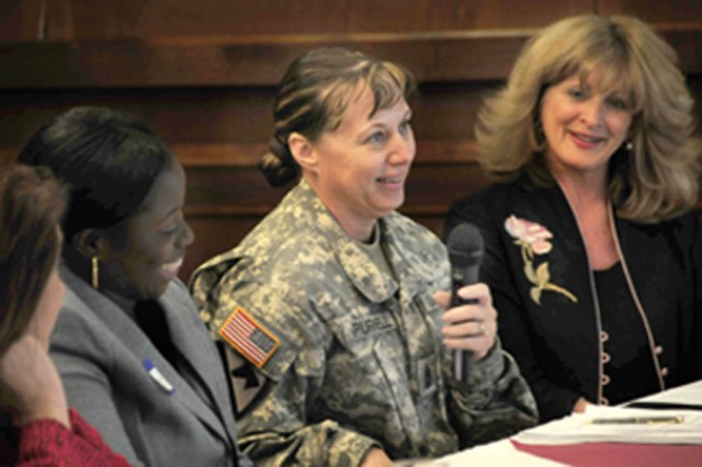 Professional women offer advice on to area during a panel discussion