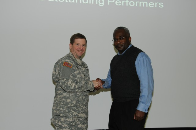 Stephan Jones received a Commander's Coin for his assistance in receiving and securitng items for the new USASAC HQ building on Redstone Arsenal.