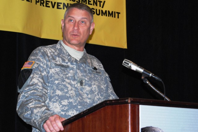 Sgt. Maj. of the Army Chandler speaks to SHARP participants