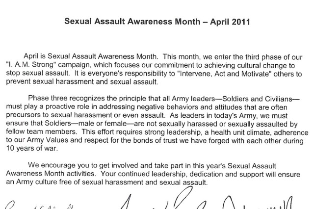 Tri-Signed Letter: Sexual Assault Awareness Month