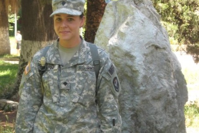 PICATINNY ARSENAL, N.J. - Kristen Burns, now an administrative assistant with the garrison command staff, during her active duty days.
