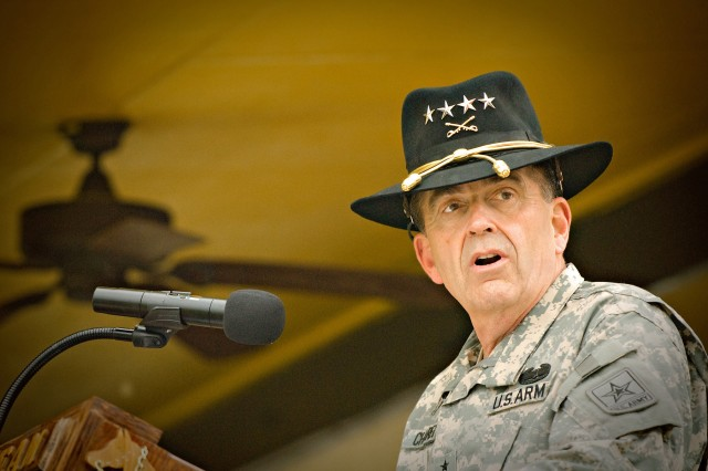 FORT HOOD, Texas-General Peter Chiarelli, the 32nd and current Vice Chief of Staff of the Army, addresses local community leaders, retires, friends, and the Soldiers of America's First Team from the podium on Fort Hood's Cooper Field March 28.