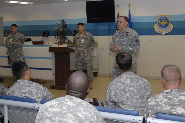 Lt. Gen. Francis Wiercinski, commander of U.S. Army Pacific, meets with members of the Contingency Command Post at Joint Base Pearl Harbor-Hickam, Hawaii, passenger terminal shortly before they left for exercise Balikatan in the Republic of the Philippines. Wiercinski discussed the importance of the CCP and took time to answer questions. The USARPAC CCP is a scalable command post designed to rapidly deploy.