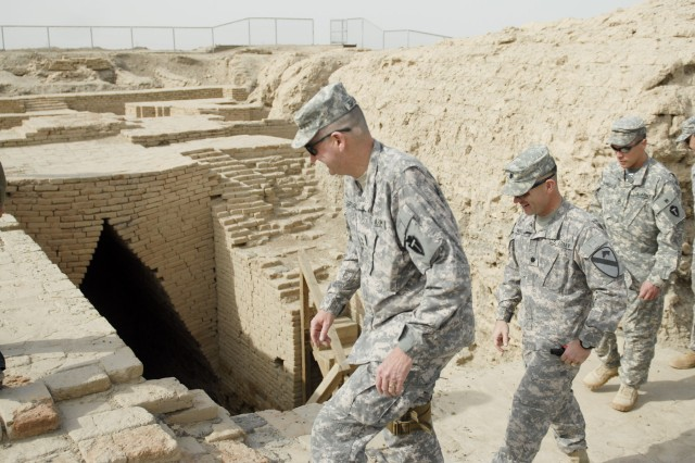 CONTINGENCY OPERATING BASE ADDER, Iraq - Maj. Gen. Eddy Spurgin (front), commander, 36th Infantry Division and United States Division - South, tours the Ziggurat of Ur March 16 as part of his visit to Task Force 2nd Battalion, 82nd Field Artillery Regiment, 3rd Advise and Assist Brigade, 1st Cavalry Division. The battalion operates around the ziggurat and often hosts VIP visits to the monument.
