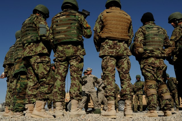 Afghan National Army conduct weapons training