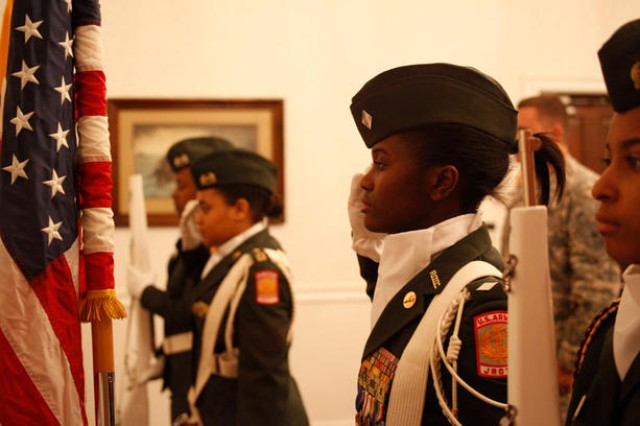 An all-female color guard from the Meade High School Junior ROTC posted and retired the colors at the 2011 Women's Appreciation Luncheon hosted by the Baltimore Recruiting Battalion and the 1st Medical Recruiting Battalion on March 22 at Club Meade.