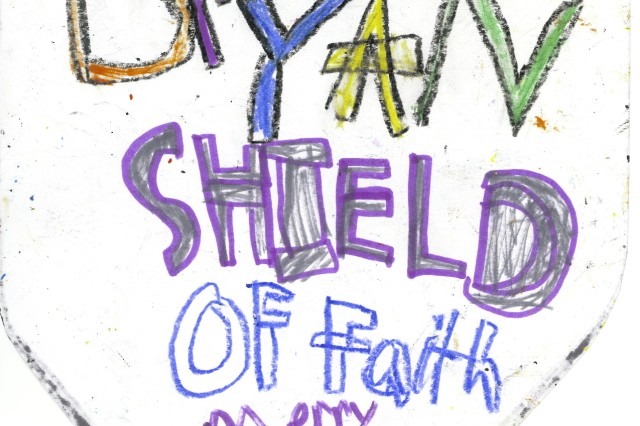 The Shield of Faith to dad from Bryan Rodney, age 8.