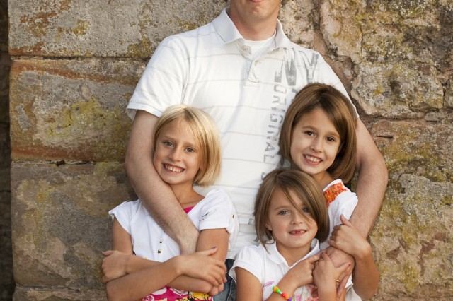 Sgt. Billy Raines and his daughters (left to right) Phoebe, Ryleigh and Olivia.