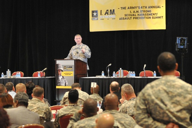 Sgt. Maj. of the Army Raymond F. Chandler III takes a question at the fourth annual Sexual Harassment/Assault Response and Prevention summit, March 29.