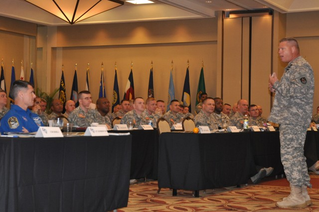 1st Space Battalion Command Sgt. Maj. William C. Baker gives a year in review briefing during the Senior Enlisted Leaders Training Conference that took place at Patrick Air Force Base, Fla., March 21-24.