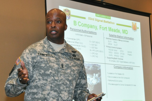 Command Sgt. Maj. Marcus Campbell, command sergeant major, 53rd Signal Battalion, speaks about progress within the battalion at all outlying locations during the Senior Enlisted Leaders Training Conference that took place at Patrick Air Force Base, Fla., March 21-24.