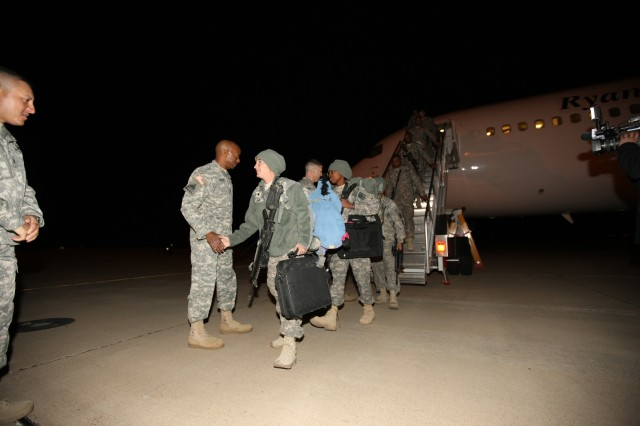 This latest contingent of about 100 Soldiers touched down at Libby Army Airfield at around 2:45 a.m. and arrived at Barnes Field House shortly thereafter.