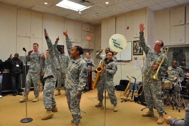 """FORT McPHERSON, Ga. (April 4, 2010) - The Army Ground Forces Band's Brass Brigade performs its version of Jay Z and Alicia Keys's popular song """"New York."""""""